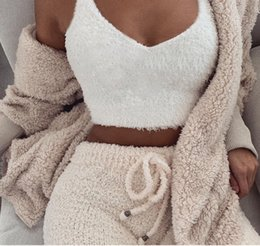 9ae705a7865 V Neck Furry Women Tank Tops White Streetwear Korean Camis Sexy Casual Strap  Crop Tank Top 2019 Spring Summer Bustier