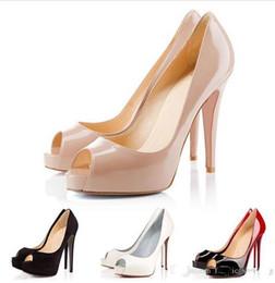 Boîte d'origine / Designer de luxe à talons hauts en cuir verni Peep Toe Pointu Femmes Pompes Plateforme Bas Rouge 12CM 14CM Robe De Mariée Chaussures 35-42 en Solde