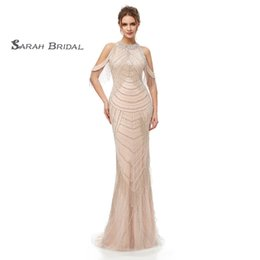 Champagne Shiny Formal Dress NZ - 2019 Champagne Mermaid Prom Dresses Full Shiny Beads and Sequins Zipper Back Formal Evening Party Gowns 5404