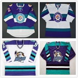 Cusotm Vintage ECHL Orlando Güneş Ayıları 27 Eric Faille 29 David Bell 3 Carl Nielsen Hokeyi Jersey Dikişli Herhangi Adı Your Number işlemeli