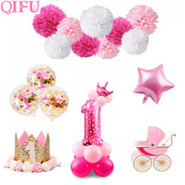 $enCountryForm.capitalKeyWord Australia - QIFU 1 Birthday Girl Party Decorations Kids First Birthday Decor Banner Balloons One Year Old 1st Decorations