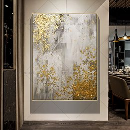 golden tree oil painting NZ - 2019 New 100% Hand Painted Abstract Gold Art Wall Picture Handmade Golden Tree Canvas Oil Painting For Living Room Home Decor SH190919