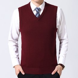 v neck sleeveless men cotton Australia - WENYUJH New Cotton Knitted Pullover Men V-Neck Sleeveless Formal Business Pull Homme Casual Solid Sweater Men Sweaters Vest