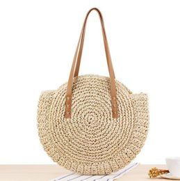 Straw Hands Bag Australia - Factory wholesale women handbag summer new simple circular straw bag hand-woven women shoulder bag sweet hollow crocheted beach bag