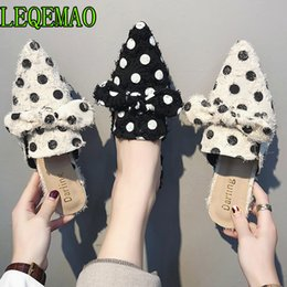 ceccbde7d301 Polka Dot Women Pumps Square heel Women Sandals Fashion Bow Tie Mules  Casual Pointed Toe Slip On Slippers