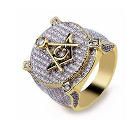 $enCountryForm.capitalKeyWord Australia - CZ Zircon Ice Out Bling Big Wide Masonic Ring Gold Filled Copper Material Freemasonry Rings Men Hip Hop Rapper Jewelry 7-13