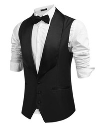 Chinese prom online shopping - Classic Groom Vest Business Slim Groomsmens Best Man Lape Formal Vest Cheap Custom Made Size Double Breasted Wedding Prom Dinner Waistcoat
