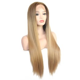 $enCountryForm.capitalKeyWord UK - Sexy Dark Brown Ombre Honey Blonde Hair Wig Hand Tied Heat Resistant Hair Fashion Makeup Straight Synthetic Lace Front Wigs for Black Women