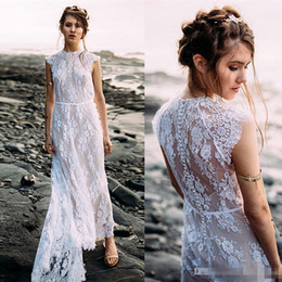 beach wedding dresses full length NZ - 2018 Vintage Full Lace Beach Wedding Dresses Ankle Length Jewel Neck Covered Buttons with Train Bohomian Wedding Gowns Custom Made