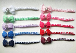Synthetic Bow Hair Clips Australia - 20pcs girl Synthetic hair Bun wraps bows clips with square crystal buckles Ponytail Holder Donut Ring Head Wrap Hairband Headband