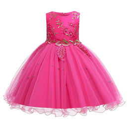 baby kids frocks wholesale UK - Summer Dress Costume Kids Evening Party Dresses For Girls Beading Princess Baby Girl Dress Frocks Wedding Dress 2 12 Years