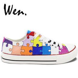 98e415767603 Wen Hand Painted Casual Shoes Custom Design Colorful Puzzle Low Top Canvas  Shoes Men Lace up Sneakers Women Platform Plimsolls  253816