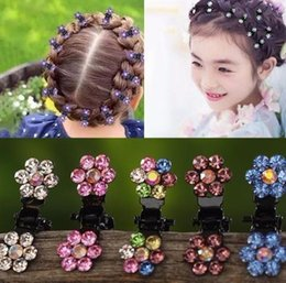 kids claw clips Canada - fashion 12pcs pack Crystal Rhinestone Flower Claw Hairpins Hair Accessories Ornaments Clips Hairgrip For Kids Girl