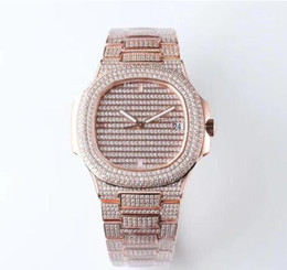 Watches For Men Automatic Sport Australia - Luxury Nautilus Watch For Men Factory Top Quality Mechanical Automatic Watches Mens 40mm Full Diamond Sport 5719 Wristwatches