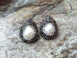 Black Pearl Drops Australia - Fashion Black Crystal Earring,Natural pearl earrings,water drop Pave Rhinestone Crystal Stud Jewelry For Women ER152
