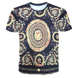 Wholesale 3d gold lion shirt for sale – custom mens designer t shirts t shirt clothes of white D gold chain lion flower national bird letters printing men s fashion short sleeved T