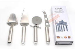Wholesale Cheese Cutters Australia - Kitchen Gadget Tools Pizza Knife Cheese Knife Set 4 Piece Stainless Steel Pizza Cutter Pie Server Cheese Knife Cheese Slicer
