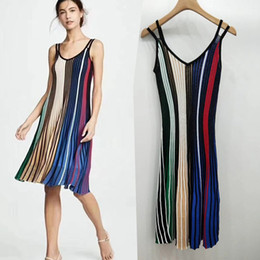 Ice Silk Strap NZ - Good quality sling knit dress asymmetric color matching vertical pleated ice silk long skirt skin-friendly thin female