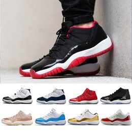 white cap rose NZ - HOT 11 11s 72-10 men women Basketball Shoes high low le white black Platinum Concord Rose Gold Tint Cap and Gown S red grey teal j11 Sneaker