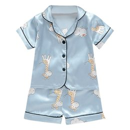 blouse sets Australia - Short Sleeve Child Blouse Tops+Shorts Sleepwear Pajamas Kids Clothes Baby Pajama Sets Boys Girls Cartoon Deer Print Outfits Set