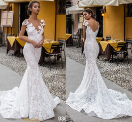 $enCountryForm.capitalKeyWord Australia - Elegant Fit and Flare Wedding Dress V back Chapel Train 2020 Cap Sleeve Illusion Bateau V neck Full lace Applique Mermaid Wedding Gown