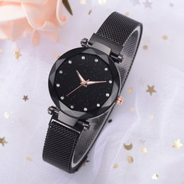 stylish ladies glasses Canada - Watch For Women Stylish Fashion Starry Sky Dial Quartz Mesh Belt Magnetic Buckle Ladies Watches Relogios Feminino With Box FN80