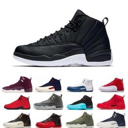 77618c09b50 Black Nylon High Quality 12 12s OVO White Gym Red Dark Grey Basketball  Shoes Men Women Taxi Blue Suede Flu Game CNY Sneakers size 36-47