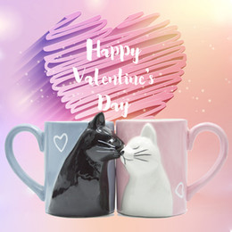 Gifts for cat lovers online shopping - 2pcs Ceramics Kiss Cat Cup Couple Mugs Lover Gift Morning Milk Coffee Tea Breakfast Porcelain Cup Valentines Day for girl