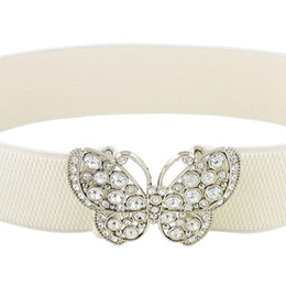 wholesale cinch belts Australia - Wholesale- HOT SALE!Rhinestones Butterfly Hook Buckle Elastic Cinch Waist Belt White