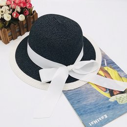 korean gardening hat NZ - Sea sun shade fisherman hat Korean version of folding straw hat bow stripe straw fisherman hat fcmZB-126