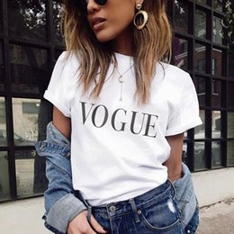 Vintage Black White Clothes Wholesale Australia - 2018 Summer Women T-shirt VOGUE Letter Printed Tshirts Casual Tops Tee Harajuku Vintage White Shirt Woman Clothing Female