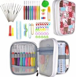 $enCountryForm.capitalKeyWord NZ - Hooks Set 72pcs Mix 21 Sizes Soft Rubber Handle Yarn Knitting Needle Set With Blue Case Women DIY Craft Tools Accessory