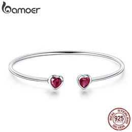 $enCountryForm.capitalKeyWord Australia - Bamoer Genuine 100% 925 Sterling Silver Red Cz Sweet Love Heart Women Cuff Bangles Bracelets Fine Sterling Silver Jewelry Scb091 Y19062901