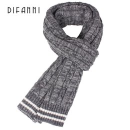 mens winter shawls Australia - Difanni Winter Women Mens Warm Brand Winter Scarf Men Wool Plain Knitted Scarf Fashion Designer Shawl Bussiness Casual Scarves