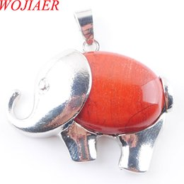 wholesale jasper necklaces Canada - WOJIAER Cute Elephant Animal Pendants Necklace Natural Red River Jasper Gem Stone Energy For Child Jewelry Chakra DN3622