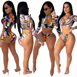$enCountryForm.capitalKeyWord Canada - Women Summer Bikini Tankinis Swimwear Swimsuit Print Long SleeveCrop Top Rash Guards 2 piece set Sexy Beachwear Plus Size S-2XL