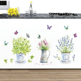 flower pot decals Australia - DIY wall stickers home decor potted flower pot butterfly kitchen window glass bathroom decals waterproof