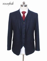 Brown Skinny Suit Australia - Custom Made Retro Melange Color Spot Copper Navy Woolen Tweed Suit British Style Mens Suit Slim Fit Blazer Wedding Suit 3pcs Q190514