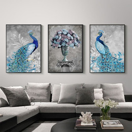 $enCountryForm.capitalKeyWord Australia - Luxury Blue Gemstone Peacock Vase Flower Canvas Paintings Vintage Wall Kraft Poster Coated Wall Sticker Home Decor Family Gift