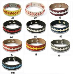 Rhinestone Sports NZ - New Softball Baseball Leather wrap Bracelet Men's Sports Snap Closure Wristband Bangle For women Fan Jewelry in Bulk