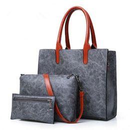 Coins Sets Australia - Vintage 2 Pieces   Set Of Women Composite Bags Leather Luxury Handbags Women Bags Designer Shoulder Messenger Bag Bolsa Feminina