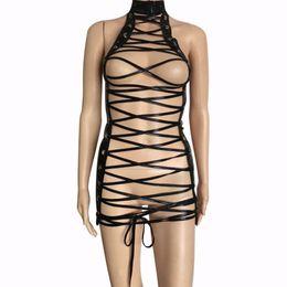 $enCountryForm.capitalKeyWord Australia - Sexy Women Faux Leather Strappy Cage Open Breast Body Harness Bandage Mini Dress Fetish Role Play Bodysuit Restraint Costume
