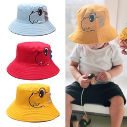Boys Visor Australia - Cotton Quality Children Cartoon Dinosaur Bucket Hat Kids Fishing Hats Boy Girl Fisherman Cap Baby Beach Sun Visor Gift