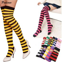 boot wool over knee Canada - 2019 Brand 1Pair Women Girl Over Knee Long Stripe Printed Stockings Thigh High Patterned 11 Colors Sweet Cute Warm Wholesale Lot