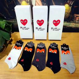 Sock Packs Australia - 5 Pairs Box Packed Short Socks Exquisite Embroidery Red Heart Logo Socks For Women And Men In Spring Summer