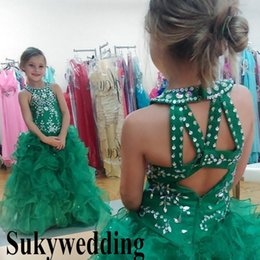 Cupcake Making Australia - Sparky Green Girls Pageant Dresses Sequins Beaded Glizta Cupcake Dresses Puffy Skirt Toddler Kid Prom Party Dresses Custom Made