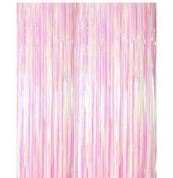 $enCountryForm.capitalKeyWord UK - Wholesale Colorful transparent rain-silk curtain tassels party backdrop Wedding room decoration Foil Curtains 1M wide and 3M long WQ63