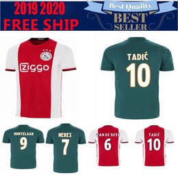 c405d181f50 CH patch version Ajax home red white Soccer Jerseys 19 20 Soccer Shirt 2019  #10 TADIC #21 DE JONG #4 DE LIGT #22 ZIYEC football uniform