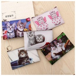 small coin purse for girls NZ - Cat Coin Bag Purse Money Wallets Cute Mini Bag For Women Girl Child Of Small Size Change Purse PU Zipper