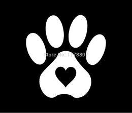 2f0b1e27ab8c wholesale 20pcs lot Pet Paw Print With Heart Dog Cat Vinyl Decal Truck  Bumper SUV Door Laptop Kayak Art Wall Car Sticker 10.2 x 10.2cm